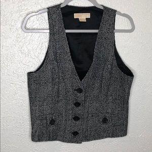 Michael Kors Black white tweed vest sz 8